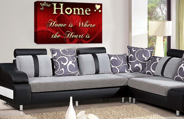 Home Quote Wall Art Picture Cream Red Love Print